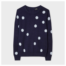 Women's Navy And Blue Polka Dot Cotton Sweater