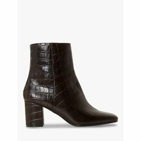Dune Oregon T Leather Square Toe Mid Heel Ankle Boots, Brown