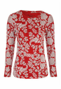 Womens Red Floral Long Sleeve Top
