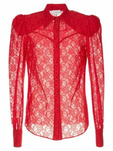 Magda Butrym sheer lace shirt - Red