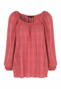 Womens Pink Check Blouse