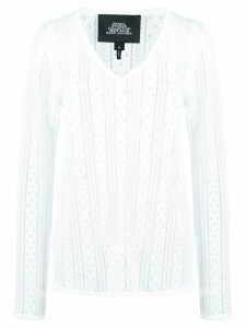 Marc Jacobs pointelle V-neck jumper - White