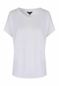 Womens White Cap Sleeved Faux Linen T-Shirt