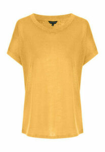 Womens Mustard Cap Sleeved Faux Linen T-Shirt