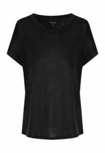 Womens Black Cap Sleeved Faux Linen T-Shirt