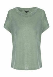 Womens Khaki Cap Sleeved Faux Linen T-Shirt