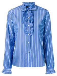 Etro striped ruffle trim shirt - Blue