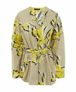 Stencil Floral Belted Cotton Long-Sleeved Top
