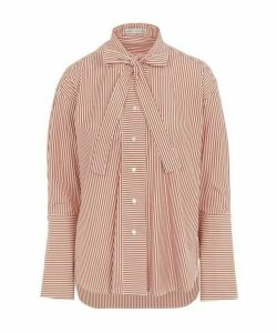 Astana Cut-Out Striped Cotton-Poplin Shirt