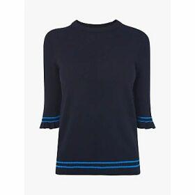 L.K.Bennett Allie Silk Blend Stripe Knitted Top, Navy