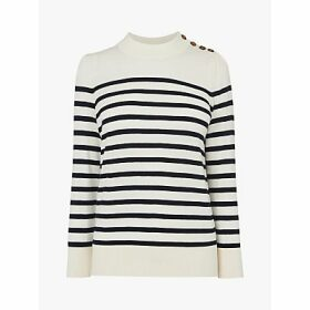 L.K.Bennett Elodie Striped Button Shoulder Jumper, Cream/Black