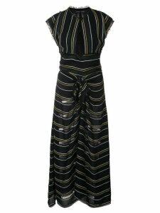 Proenza Schouler Crêpe Striped Tied Dress - Black
