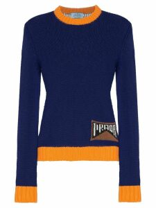 Prada contrast trim logo knitted jumper - Blue