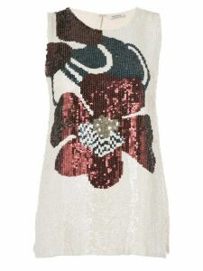 P.A.R.O.S.H. sequin embroidery top - White