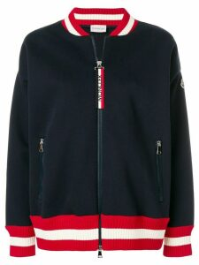 Moncler striped trim zipped sweatshirt - Blue