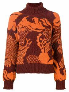 Barrie Stencil Garden cashmere turtleneck pullover - Red