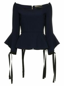 Roland Mouret Holden tie cuff long sleeve top - Blue