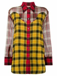 Nº21 sheer panels checked shirt - Yellow