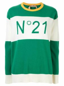 Nº21 contrast panels logo jumper - Green