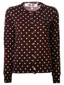 Comme Des Garçons Play embroidered heart polka dot cardigan - Brown