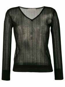 L'Autre Chose lightweight crochet V-neck sweater - Black