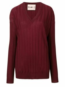 Plan C long-sleeve fitted sweater - Red
