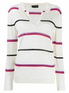 Cashmere In Love striped polo shirt - NEUTRALS