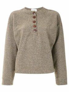 Framed wool sweater - Brown