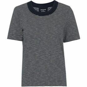 Whistles Stripe Rosa Double Trim Tshirt