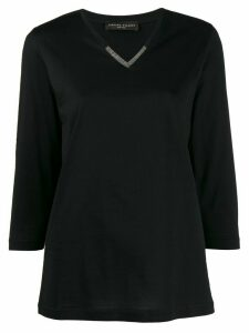 Fabiana Filippi embellished 3/4 sleeves T-shirt - Black