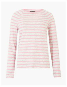 M&S Collection Pure Cotton Raglan Striped Straight Fit Top
