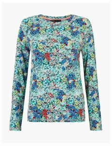 M&S Collection Pure Cotton Floral Straight Fit Top