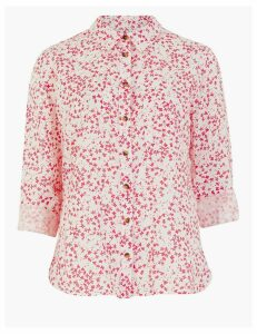 M&S Collection Pure Linen Floral Long Sleeve Shirt