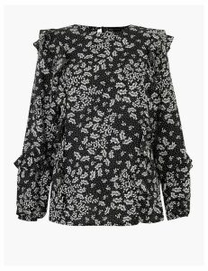 M&S Collection Printed Frill Detail Long Sleeve Blouse