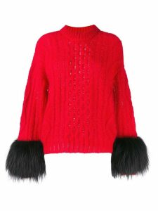 Prada faux-fur cuff jumper - Red