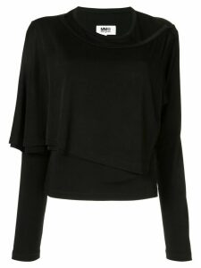 Mm6 Maison Margiela layered jersey top - Black