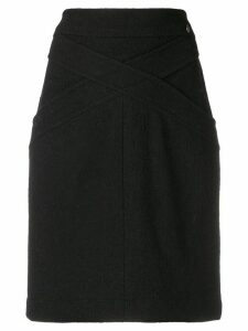 Chanel Pre-Owned crisscross detail fitted skirt - Black