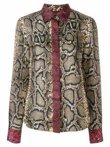 Victoria Beckham slim contrast trim blouse - Brown