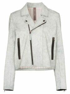 Lot Lthr zipped biker jacket - White