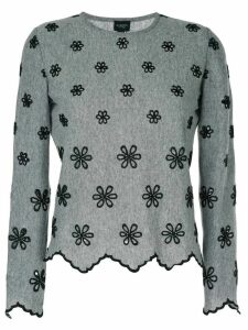 Giambattista Valli embroidered flower jumper - Grey