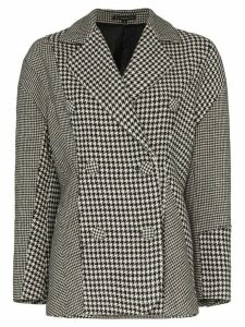 Blindness houndstooth double-breasted coat - Black