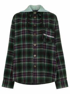 Natasha Zinko check hooded shirt - Green