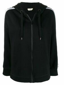 Fendi logo trim hoodie - Black