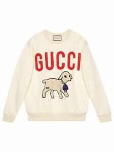 Gucci lamb patch oversized sweatshirt - White