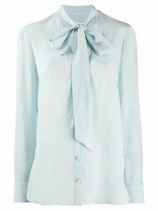 Alexander McQueen crepe de chine neck tie blouse - Blue