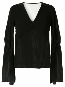 Dion Lee ruffle sleeve layered blouse - Black
