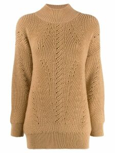 Alberta Ferretti ribbed neck jumper - Brown