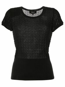 Paule Ka embroidered fitted T-shirt - Black