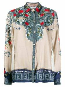 Versace Collection silk floral print shirt - NEUTRALS