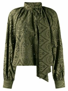 GANNI broderie loose fit blouse - Green